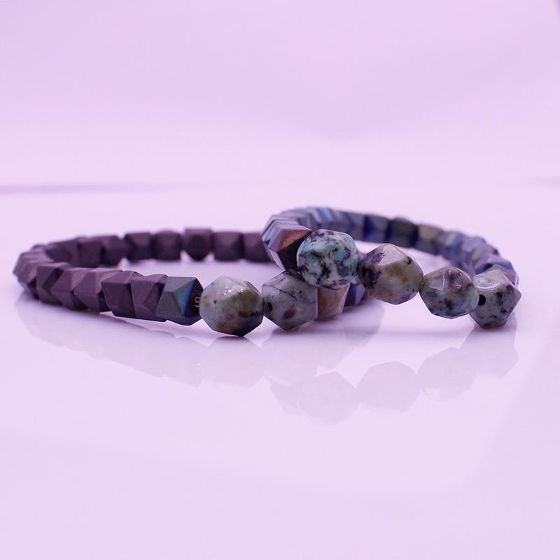 Valentine His & Her Couple Hematite African Turquoise Beads Bracelet