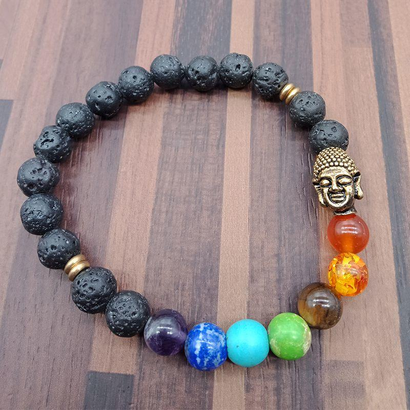 Handmade 7 Chakra Buddha Head Beads Bracelet