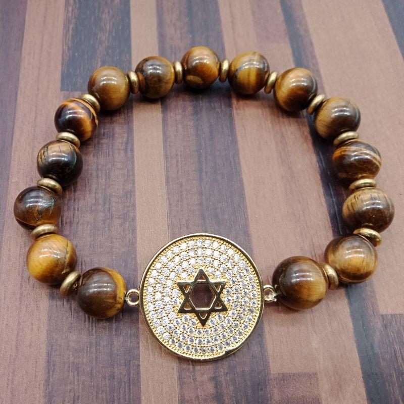 Star Of David Stainless Steel Charms Tiger Eye Beads Bracelet