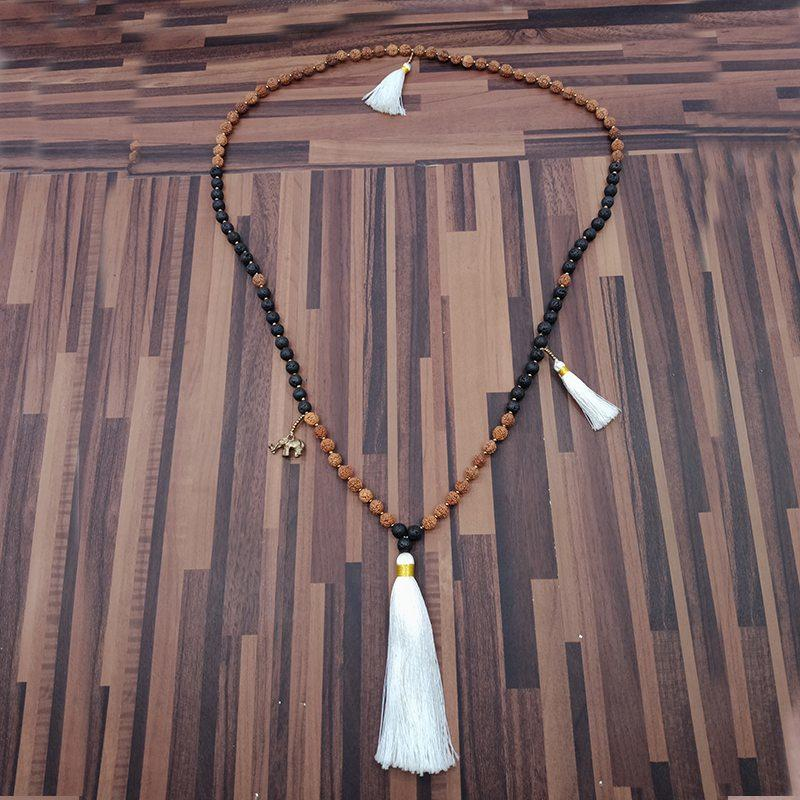 Tassel Rudraksha And Lava Beads Mala Necklace