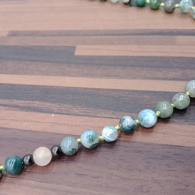 Natural Stone Beads & Pendant Mala Necklace