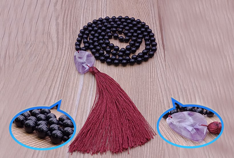 Black Agate Beads Malas Yoga Necklace With Amethyst Pendant