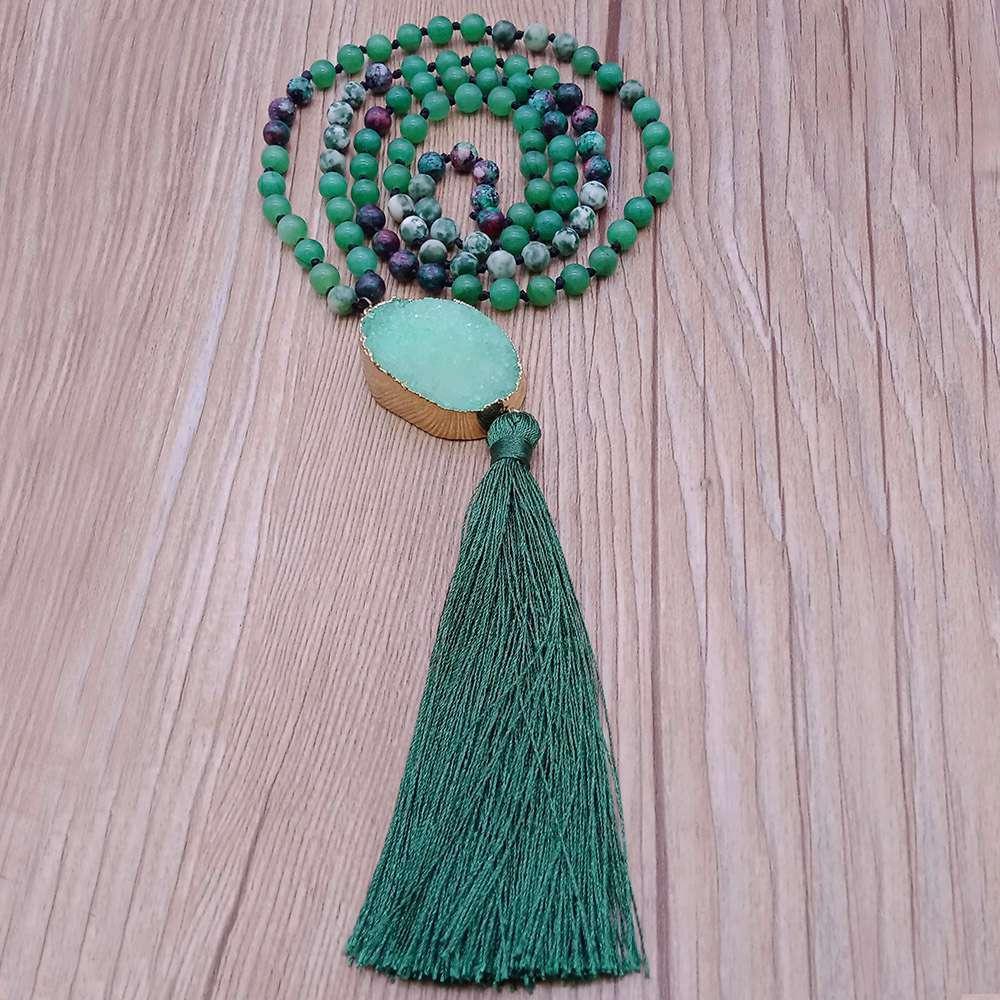 Mixed Natural Stone Beads Druzy Pendant Malas Yoga Necklace