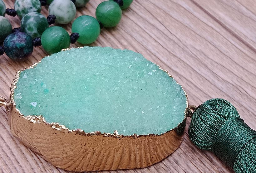 Mixed Natural Stone Beads Druzy Pendant Malas Yoga Necklace