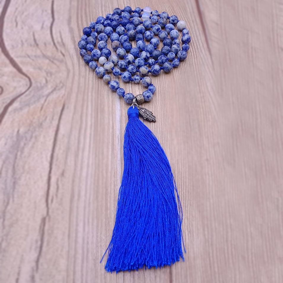 Blue-vein Stone Beads Malas Yoga Necklace With Hamsa Hand