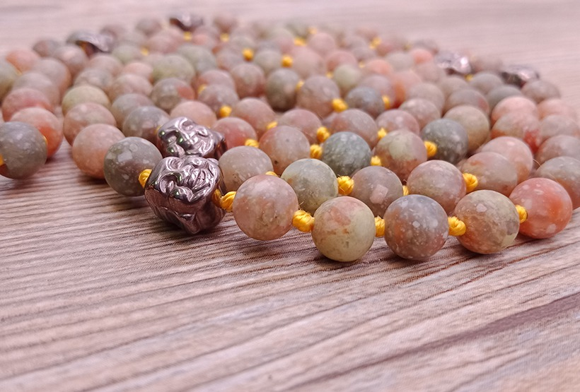 Natural Stone Beads And Alloy Buddha Malas Yoga Necklace