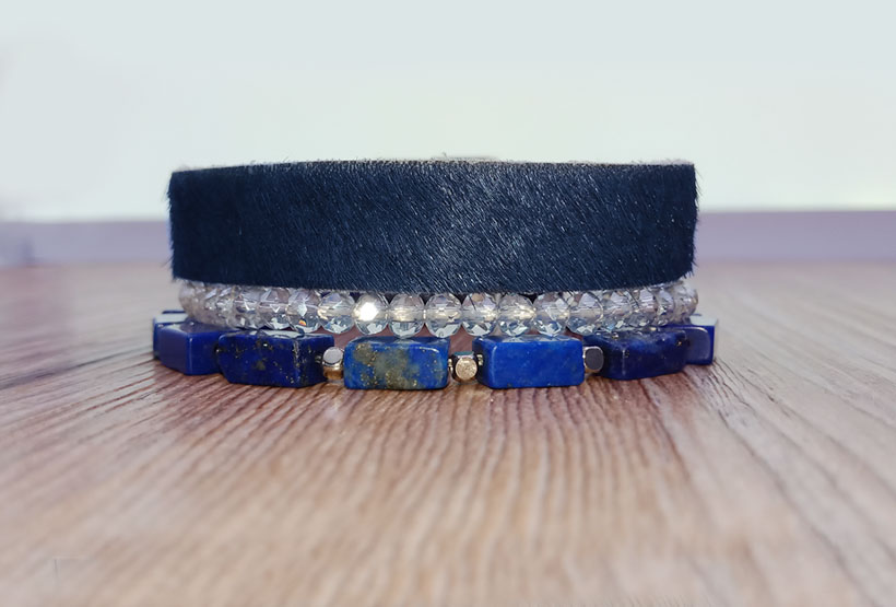 Lapis Lazuli Crystal Beads Leather Boho Bracelet