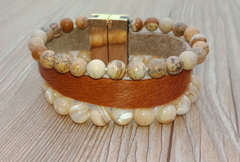Picture Jasper And Yellow Shell Beads Leather Boho Bracelet