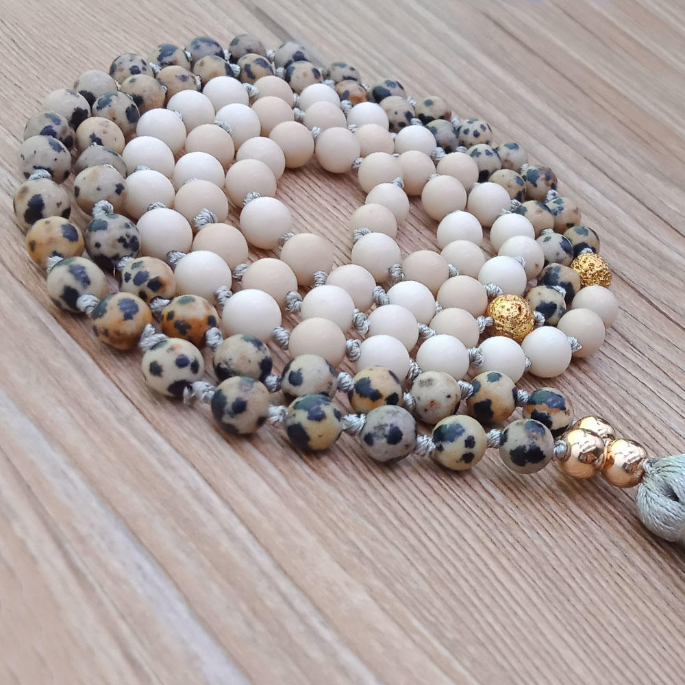 Mixed Natural Stone Malas Yoga Tassel Necklace