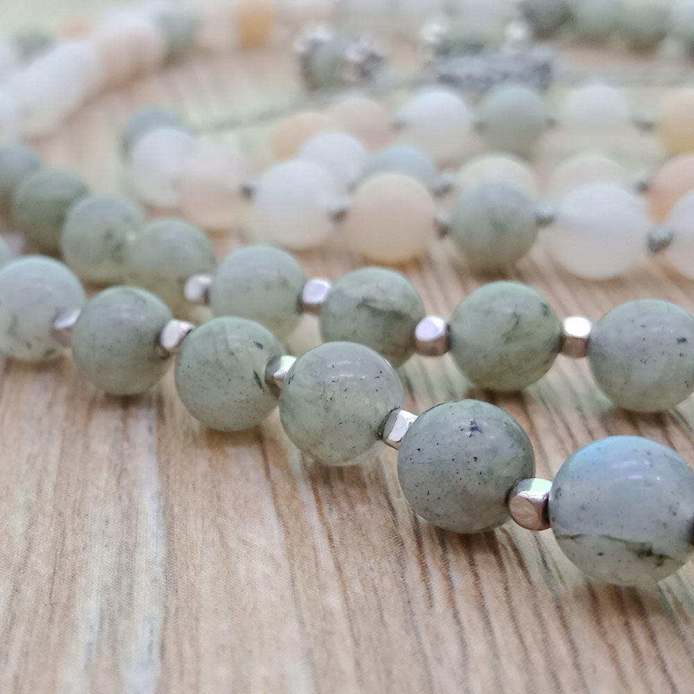 Mixed Natural Stone Velvet Malas Yoga Necklace