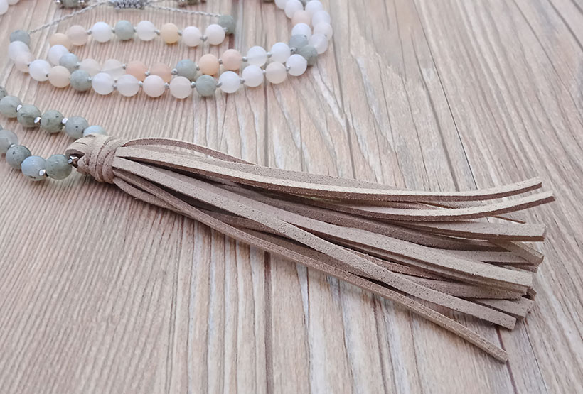 Mixed Natural Stone Leather Malas Yoga Necklace