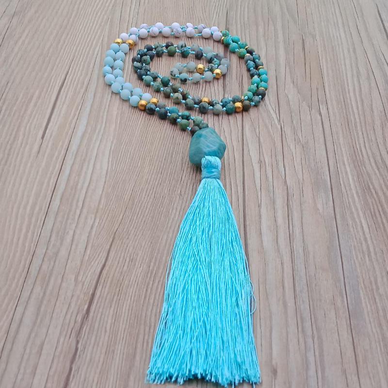 Mixed Stone Beads Section Amazonite Pendant Malas Yoga Necklace
