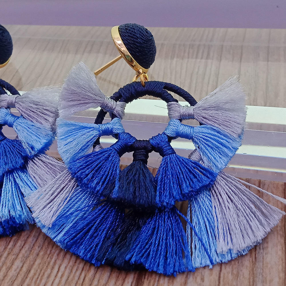 Handmade Fan Shape Double Layer Tassel Earrings