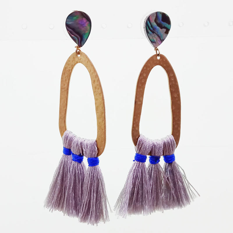 Copper Abalone Hoop Tassel Earrings