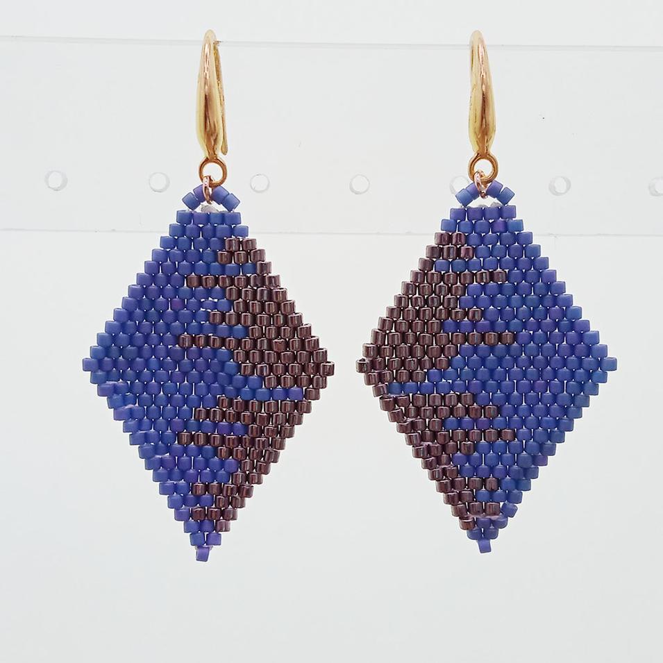 Miyuki Seed Bead Rhombic Drop Earrings