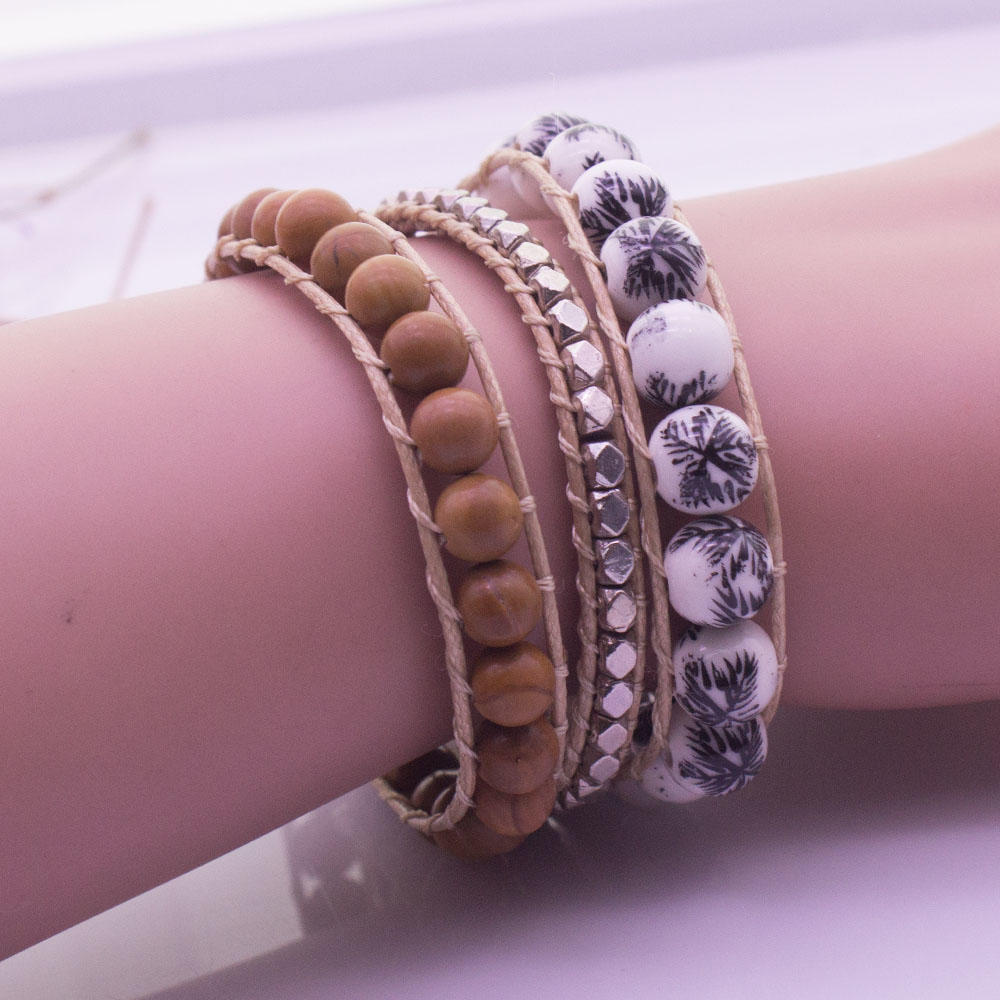 Handmade Natural Stone Beads 3 Wrap Bracelet