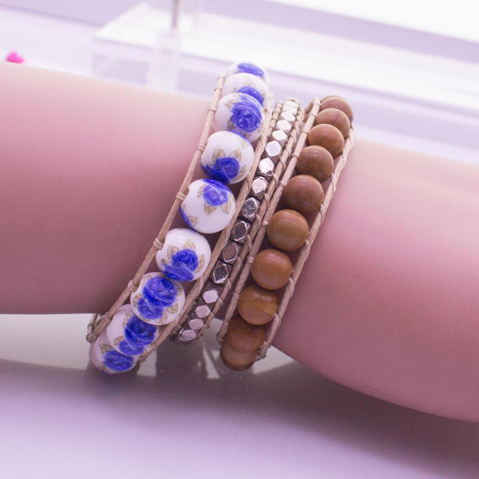 Handmade Stone Beads 3 Wrap Bracelet