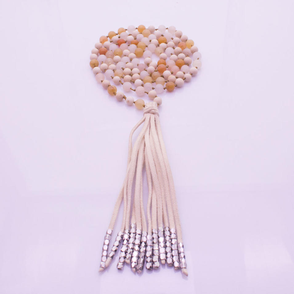 Handmade Mixed Stone Beads Velvet Tassel Mala Yoga Necklace