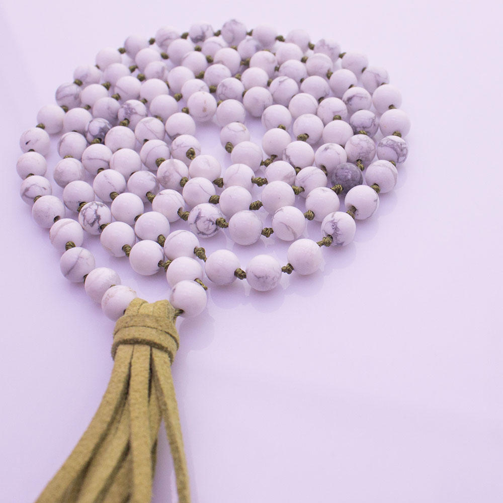 Howlite Beads Velvet Tassel Mala Yoga Necklace