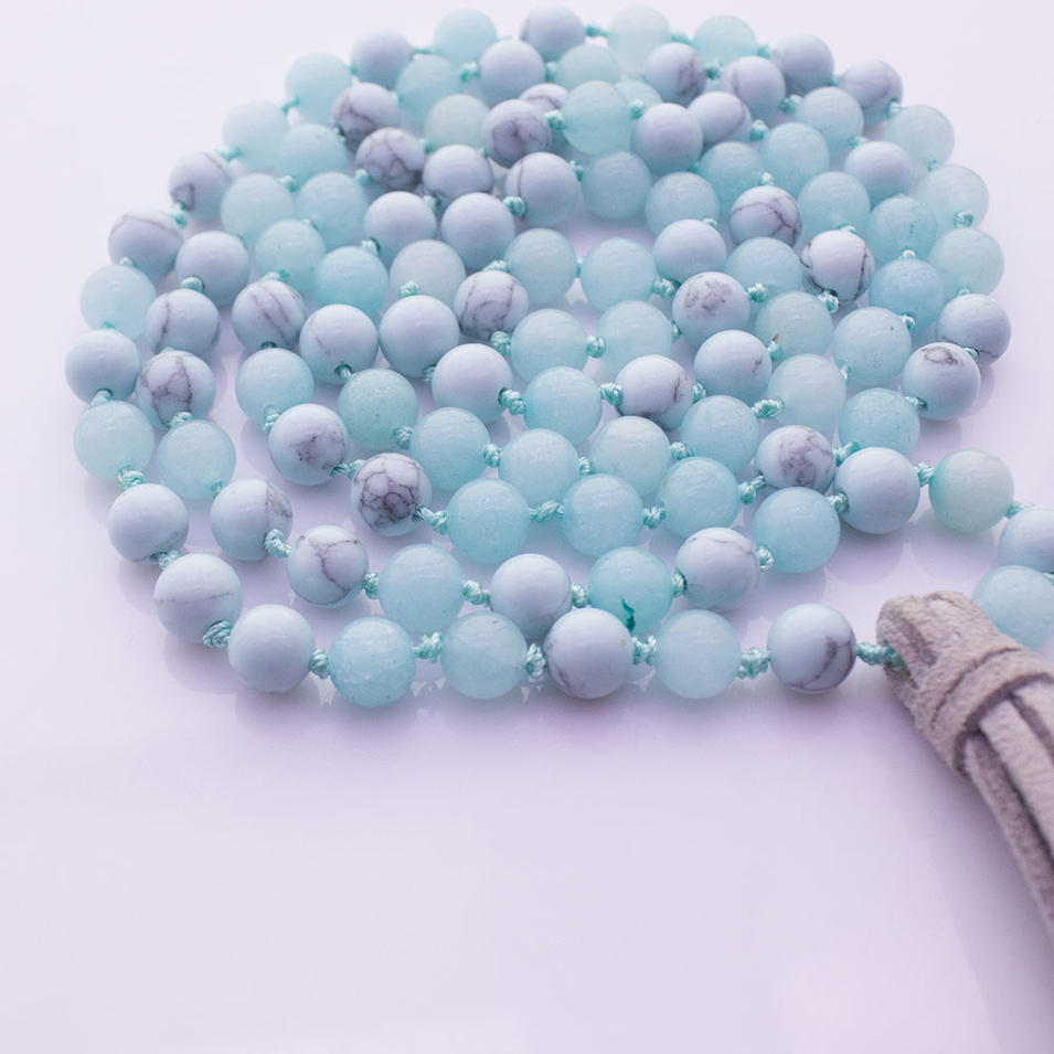 Amazonite & Turquoise Beads Velvet Tassel Malas Yoga Necklace