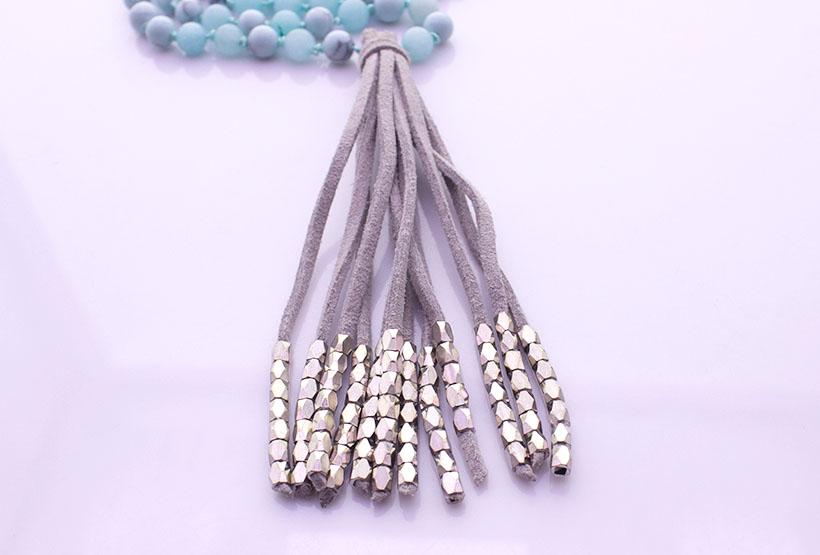 Amazonite & Turquoise Beads Velvet Tassel Malas Yoga Necklace