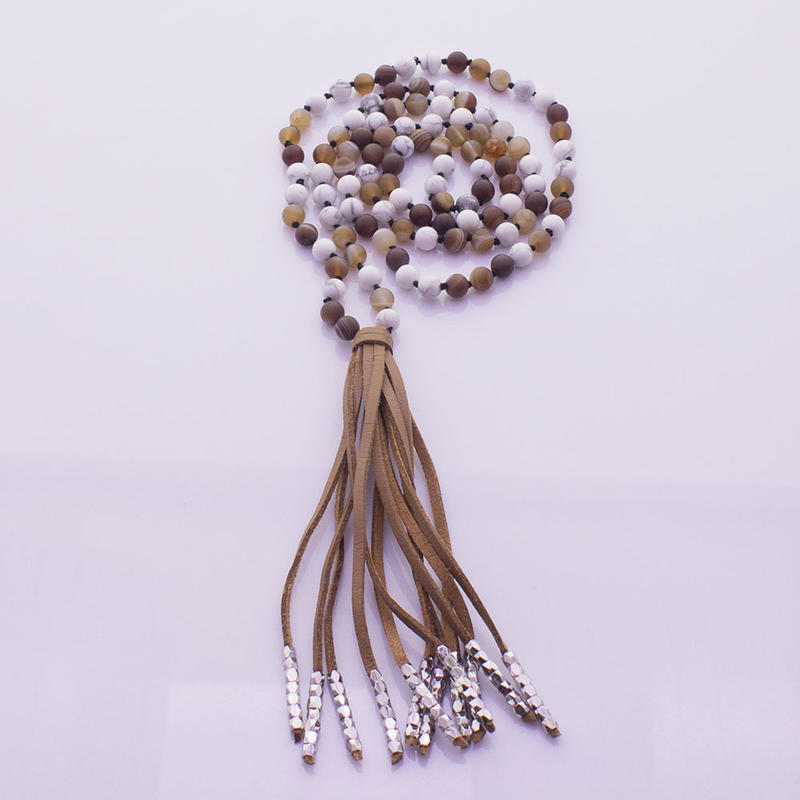 Howlite & Agate Beads Velvet Tassel Malas Yoga Necklace