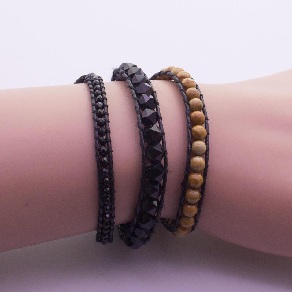 Natural Stone & Crysatl Beads 3 Wraps Bracelet