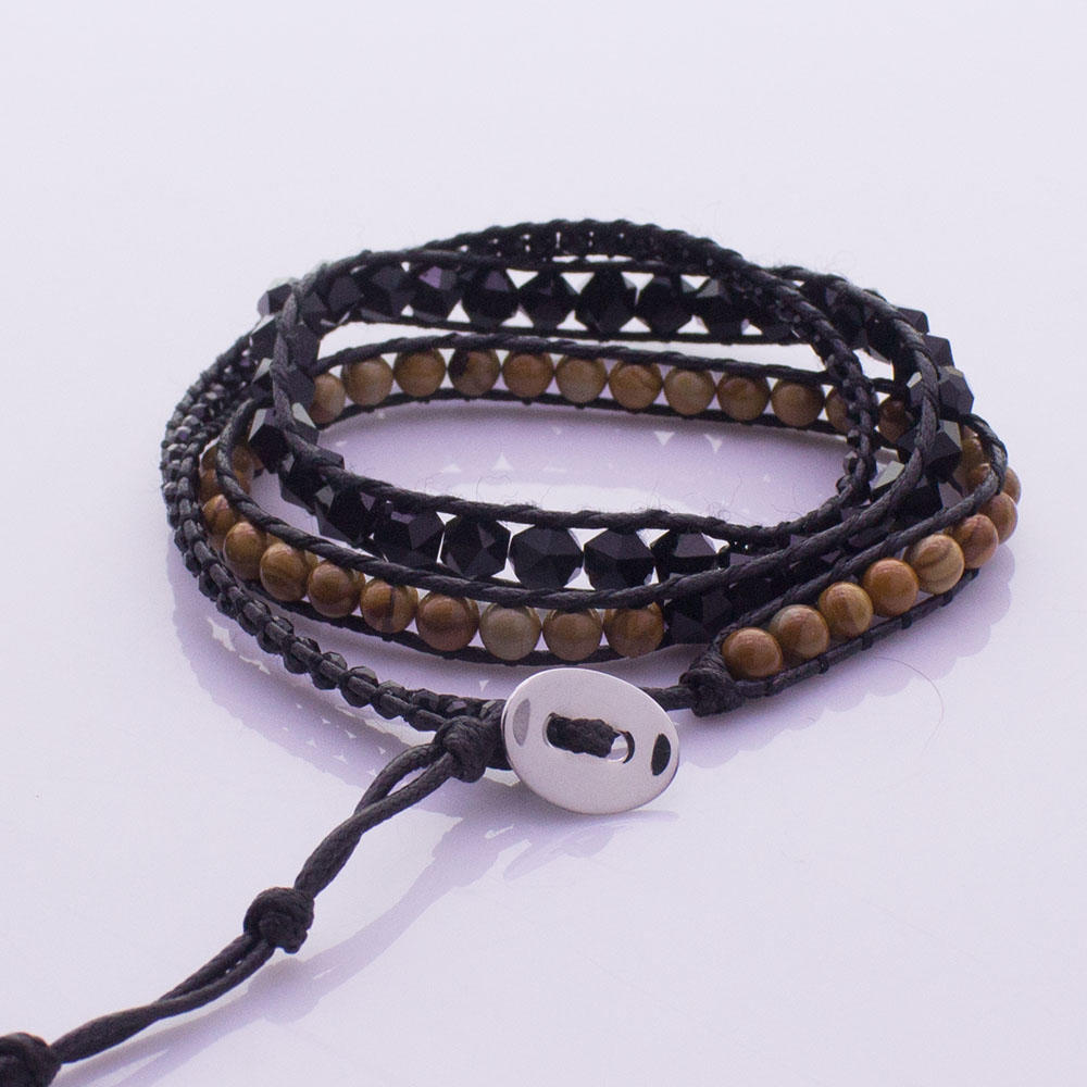 Natural Stone & Crysatl Beads 3 Wraps Bracelet