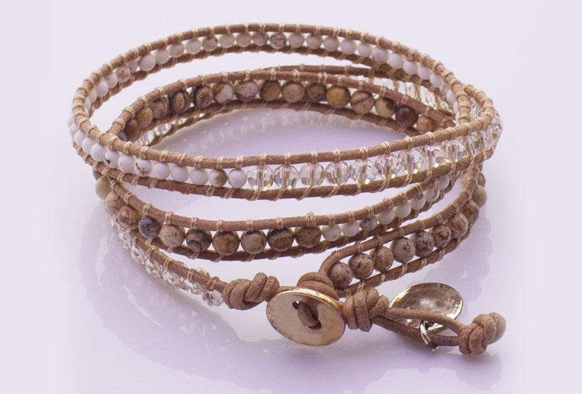 Picture Jasper Howlite Crystal Beads 3 Wrap Bracelet