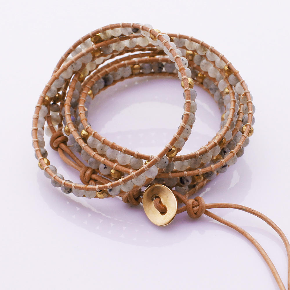 Labradorite Beads Copper Beads 5 Wrap Bracelet Handmade Wholesale