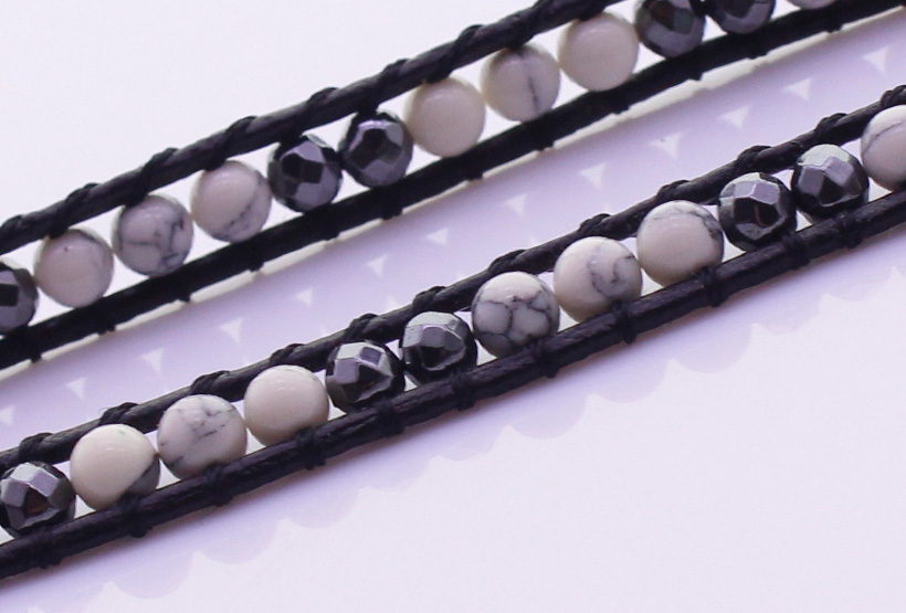 Howlite & Crystal Beads 5 Leather Wrap Bracelet
