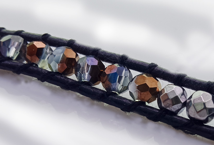 Handmade Crystal & Copper Beads 5 Leather Bracelet