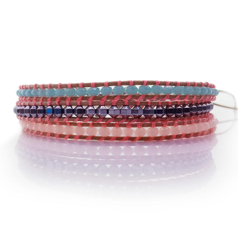 Fine Crystal & Copper Beads 3 Wrap Leather Bracelet