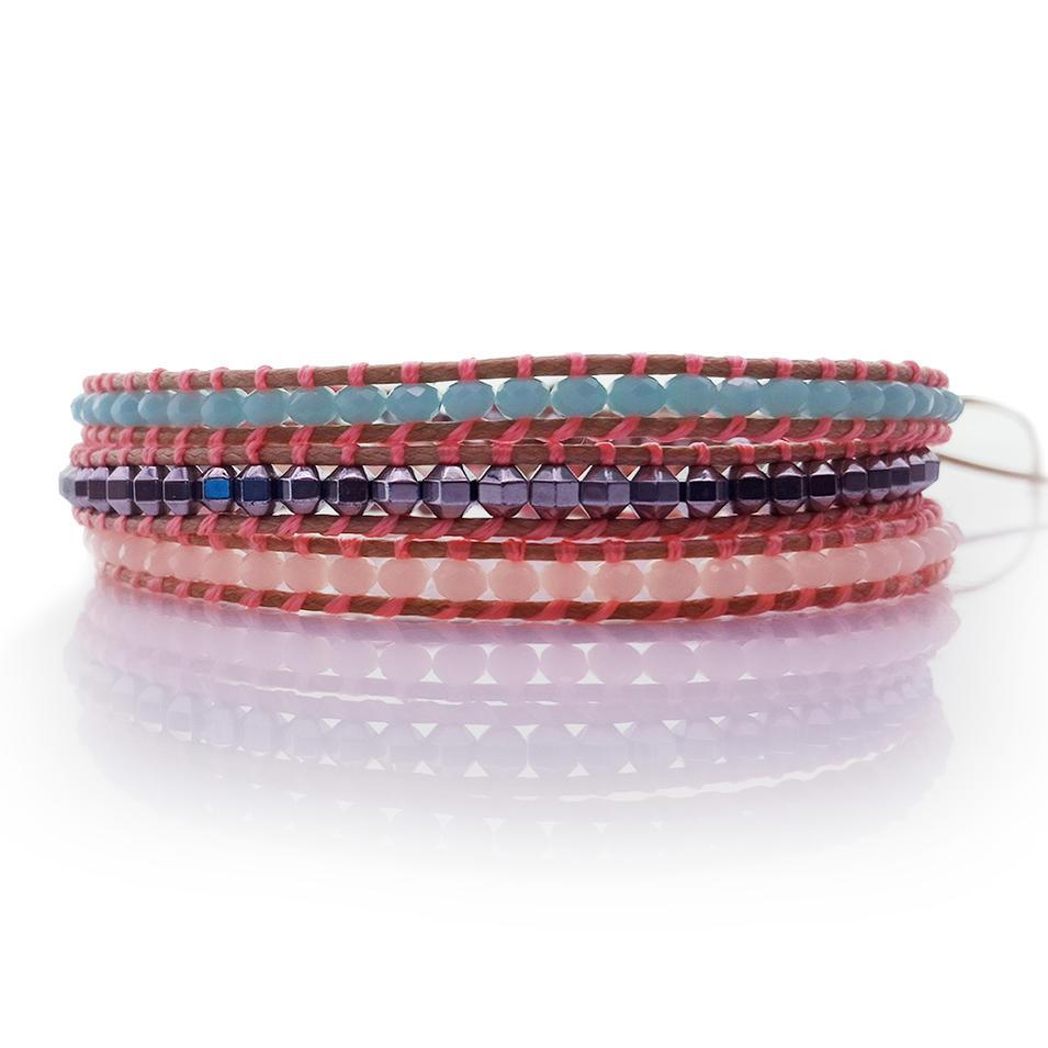 Fine Crystal & Copper Beads 3 Wrap Leather Bracelet