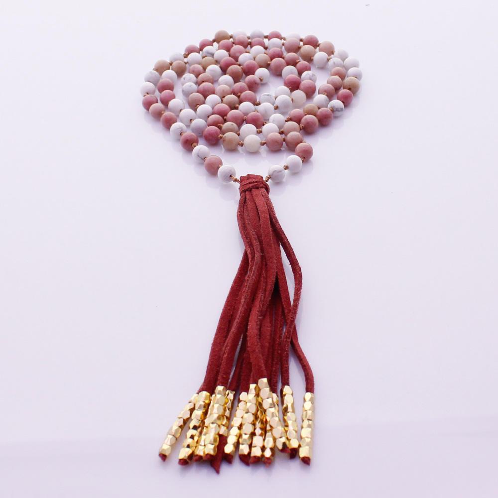 Rhodochrosite & Howlite Beads Velvet Malas Yoga Necklace