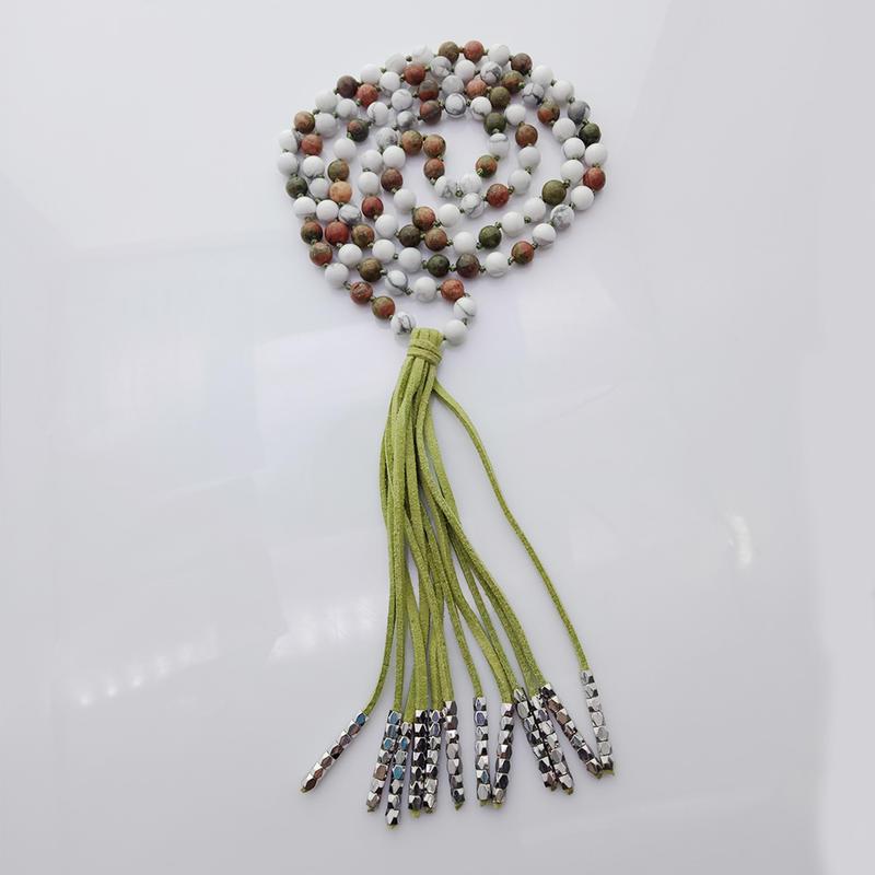 Unakite & Howlite 6mm Beads Velvet Malas Yoga Necklace