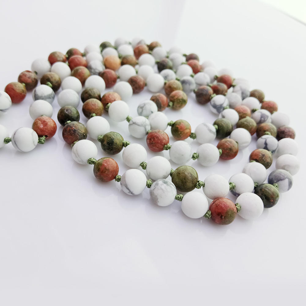 Unakite & Howlite 6mm Beads Velvet Malas Yoga Necklace