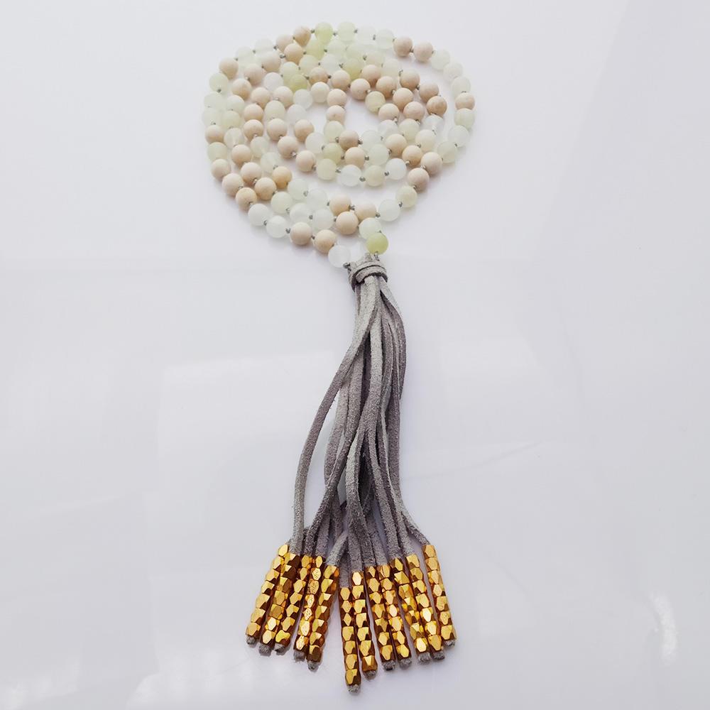 Handmade Mixed Natural 6mm Beads Velvet Mala Yoga Necklace