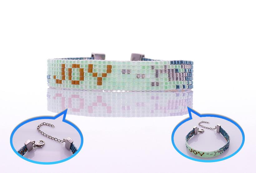 Handmade Letter JOY Miyuki Seed Bead Beading Lobster Clasp Bracelet
