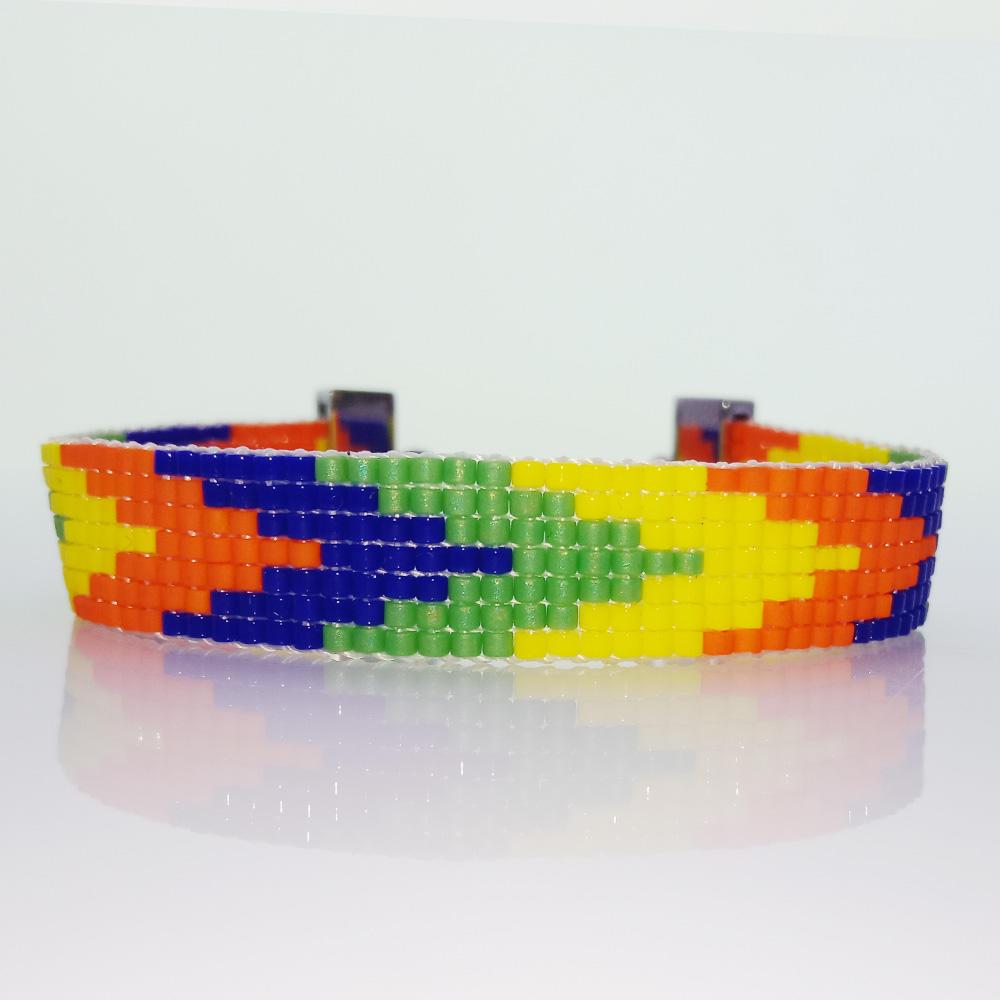 Handmade Mixed Color Miyuki Arrow Beading Lobster Clasp Bracelet