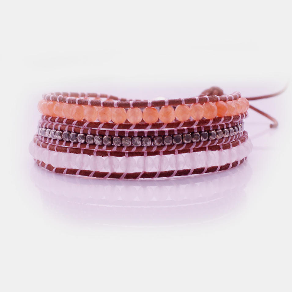 Handmade Crystal & Copper Beads Leather 3 Wrap Bracelet