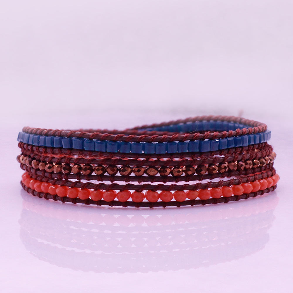 Handmade Square Plastic & Crystal Beads Leather 3 Wrap Bracelet