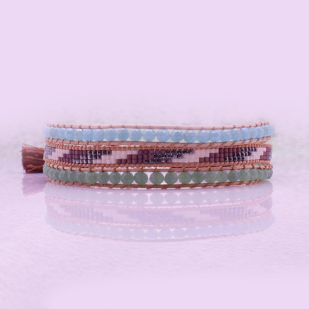 Handmade Crystal And Miyuki Beads 3 Layers Tassel Clasp Bracelet