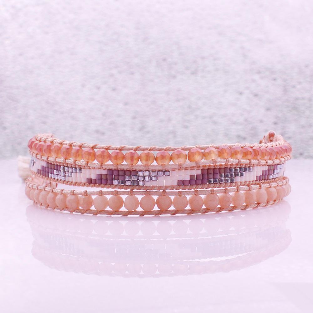 Miyuki & Crystal Beads 3 Layers Tassel Clasp Bracelet