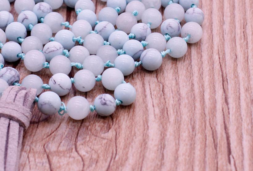 Handmade Turquoise & Amazonite Beads Malas Yoga Necklace