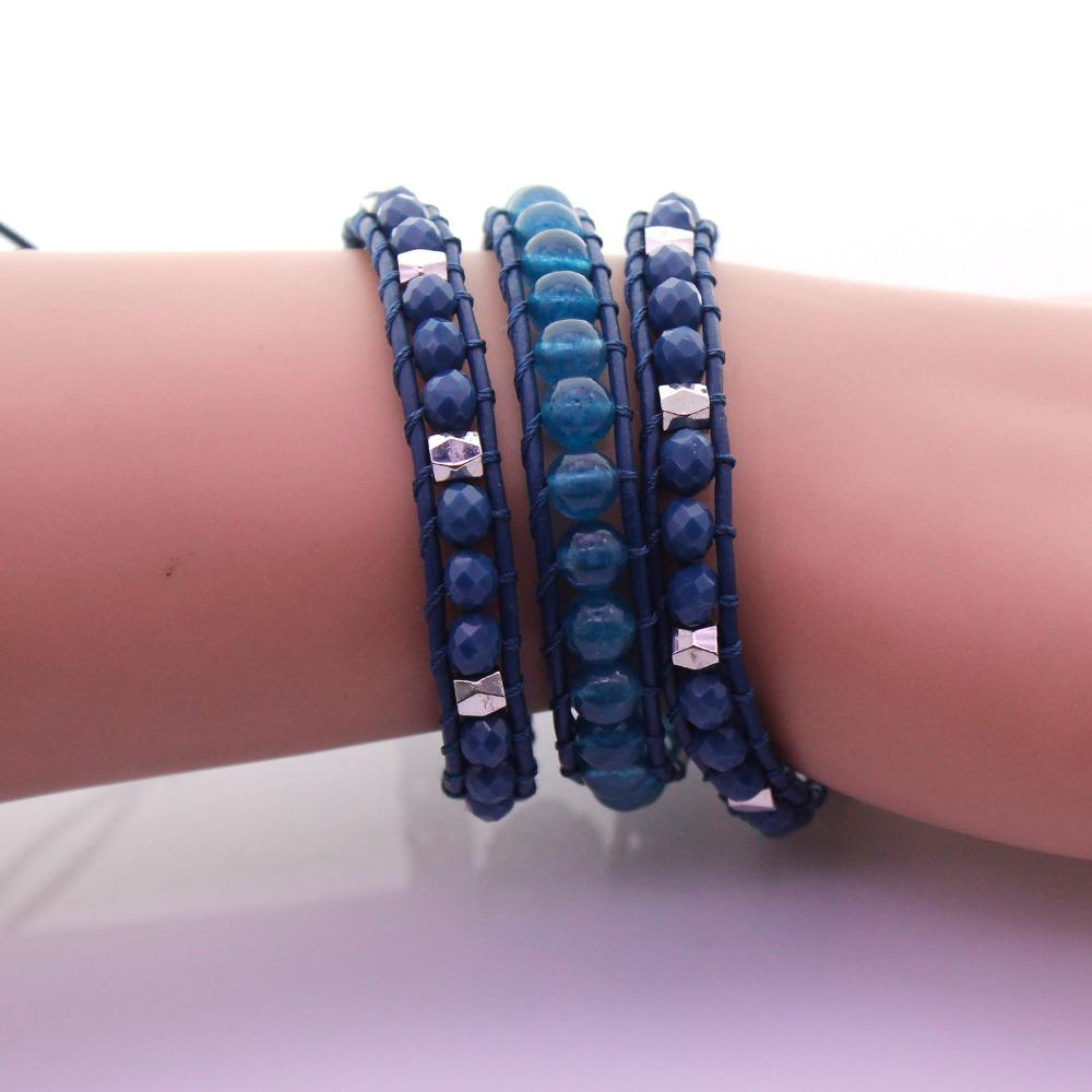 Crystal & Additive Jade Beads Leather 3 Wrap Bracelet