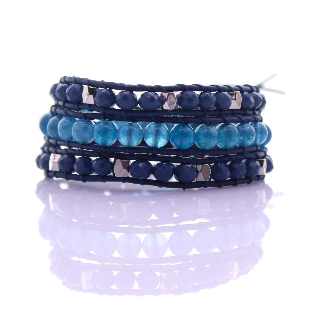 Crystal & Additive Jade Beads Leather 3 Wrap Bracelet