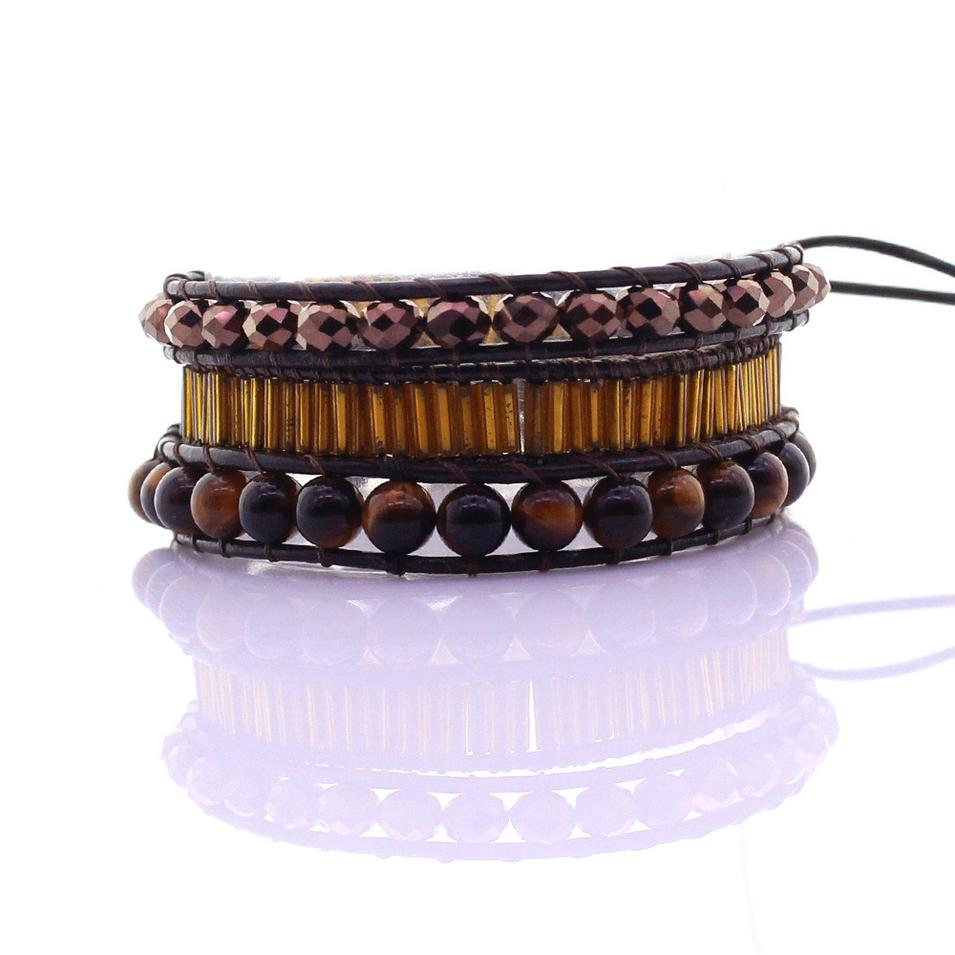 Tiger Eye & Crystal & Glass Tube Beads Leather 3 Wrap Bracelet