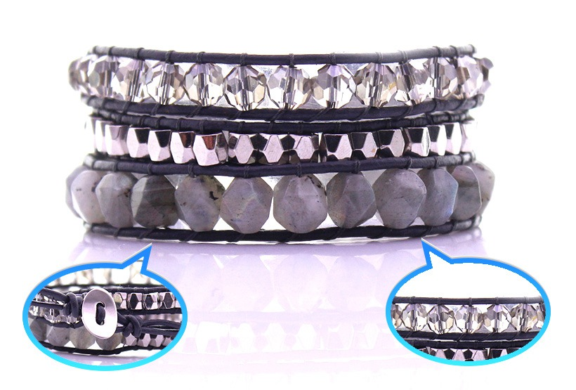Labradorite Stone & Crystal & Alloy Beads Wax Rope 3 Wrap Bracelet
