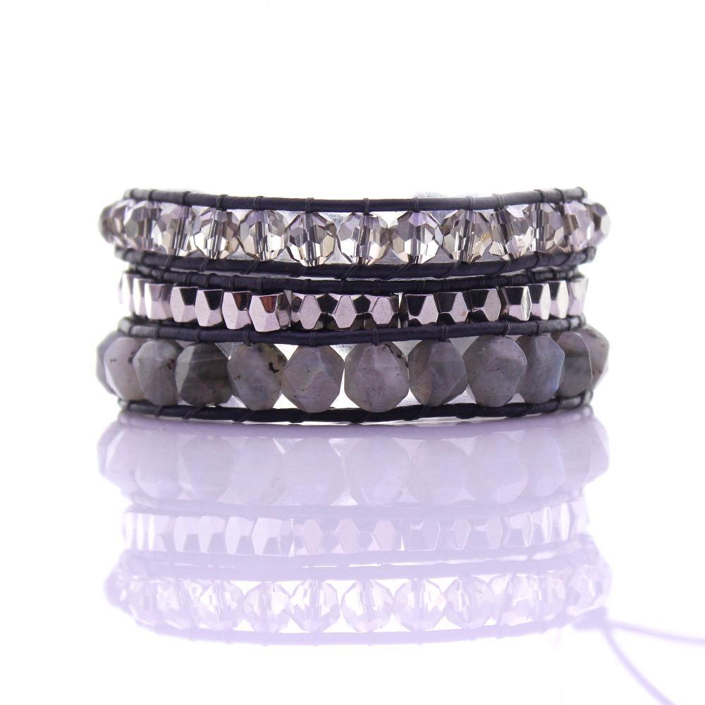 Labradorite Stone & Crystal & Alloy Beads Wax Rope 3 Wrap Bracelet